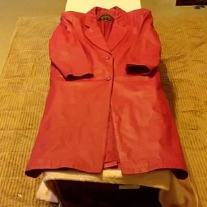 Chic long red genuine leather coat